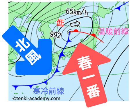 寒の戻りの天気図
