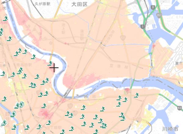 多摩川氾濫時の想定浸水区域と避難場所